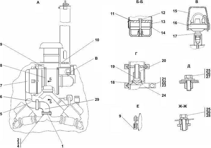 0902-05-1-20СП Установка систем воздухоочистки и выпуска бульдозера Четра Т 9