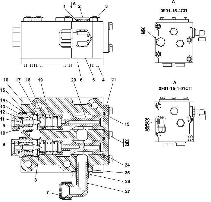 0901-15-4СП/4-01СП Клапан бульдозера Четра Т 9