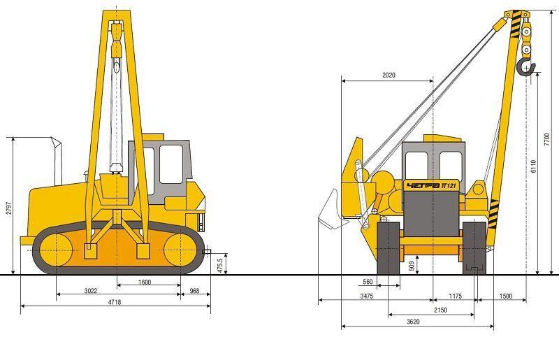 Схема трубоукладчика ТГ 121