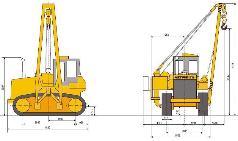 Схема трубоукладчика ТГ 221