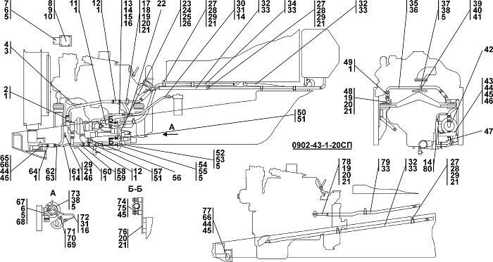 0902-43-1СП Установка системы подогрева бульдозера Четра Т 9