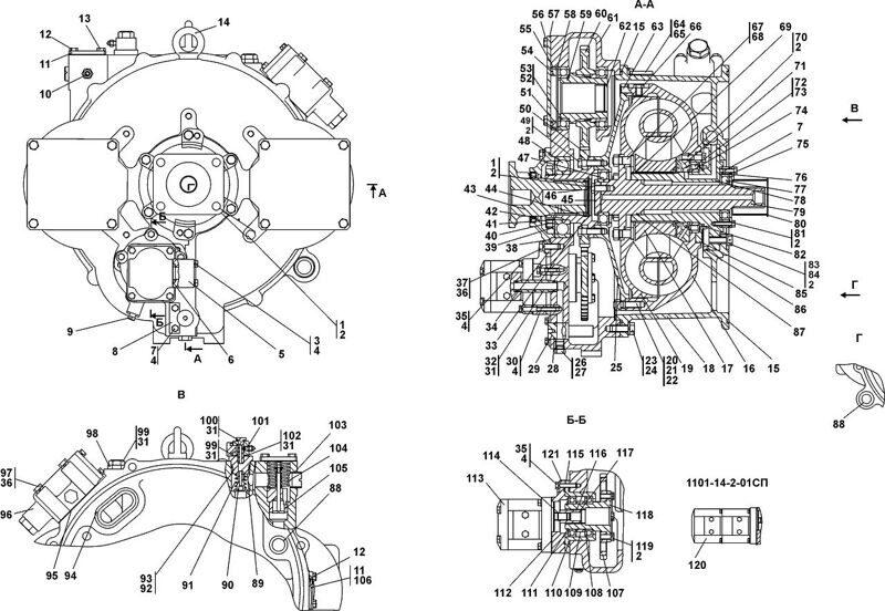 1101-14-2СП/2-01СП Гидротрансформатор с редуктором привода насосов бульдозера Четра Т 9