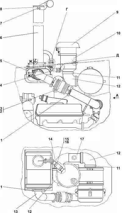 0902-05-1СП Установка систем воздухоочистки и выпуска бульдозера Четра Т 9