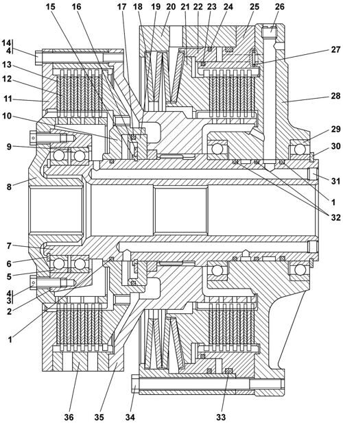 01-18-10СП Фрикцион бортовой и тормоз остановочный Четра Т 11